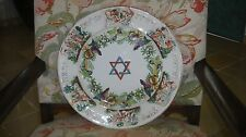 RARE ANTIQUE 19TH FAIENCE ITALIAN CAPODIMONTE JUDAICA PESACH PASSOVER HUGE PLATE