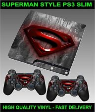 Play station 3 Slimline Console Sticker Skin Super man logo Style & 2 Pad Skins