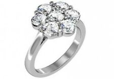 1.75 ct G VS2 round diamond halo style flower cocktail ring solid 14k white gold
