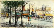 G ETTORINO Signed Orig Vint Mid Century lt.50s-ea60s Painting PARIS MOULIN ROUGE
