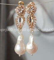 NATURAL 12-18MM SOUTH SEA WHITE BAROQUE PEARL DROP EARRINGS JE40