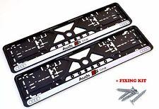 2x Kennzeichenhalter Nummernschildhalter für AUDI S-LINE RS6 RS8 R8 + Schrauben