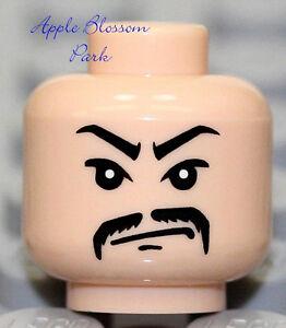 LEGO Light FLESH MINIFIG HEAD Black Mustache - Indiana Jones Asian Gangster 7682