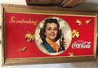 Vintage ORIGINAL 1941 Large Coca-Cola Coke Cardboard Sign in Original Wood Frame