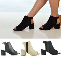 Womens Low Heel Peep Toe Shoes Ladies Open Back Ankle Chelsea Boots Style Size