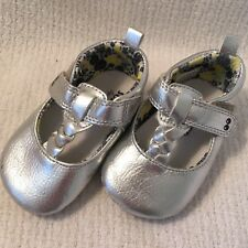 Surprise By Stride Rite Silver Mary Jane Dressy Baby Shoes Size 0-6 Months