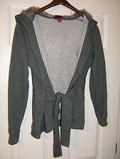 Merona Womans Gray Cotton Tie Front Faux Fur Hoodie Jacket Size Medium (NWOT)