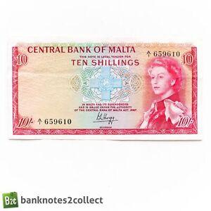 MALTA: 1 x 10 Maltese Shillings Banknote.