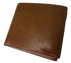 MEN COACH Brown Leather Double Billfold Credit Card Wallet