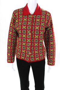 Oilily Womens Wool Knit Long Sleeve Collared Cardigan Sweater Red Size M