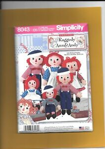 """Simplicity Raggedy Ann & Andy Doll and Clothes  Pattern 15"""",26"""",36""""---   8043-"""