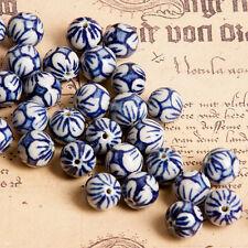 4x Porzellan Keramik Perlen Beads Schmuck DIY Basteln 15x13mm Weiß Braun tb203