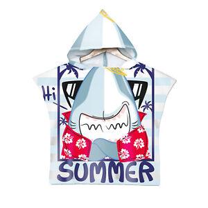 Kids Boys Girls Hooded Towel Printed Lovely Cartoon Beach Bath Bathrobe Poncho
