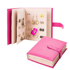 Book Design PU Leather Jewelry Display Earring Stud Organizer Storage Tray Pink