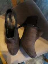 Dorothy Perkins dark Brown suede Shoe Boots, high Heel, size 7