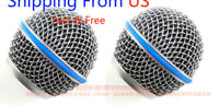 2× Microphone Grill Mic Ball Head Mesh for Shure Beta58A SM58 pgx24 slx24