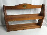 """Vintage Wooden Wall Hanging Spice Rack 12""""x17"""" Two shelves holds 16 bottles"""