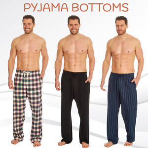 Mens Woven Lounge Bed Pants Pyjama Bottoms Checked Trousers PJ Cotton Drawstring