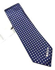 "NEW GUCCI Blue Navy GUCCY Star Print Men's Silk Tie 3.25"""