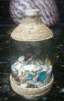 """Beach in a Bottle w/Shells and Natural Color Sand Approx 4"""" High.Coastal Décor"""