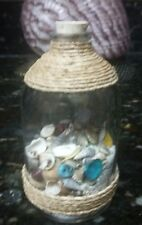 "Beach in a Bottle w/Shells and Natural Color Sand Approx 4"" High.Coastal Décor"