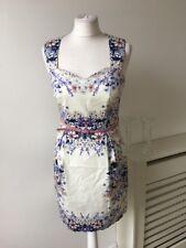 Oasis White Violet Pink Flower Print Cotton Cut Out Sheath Dress Sz 10