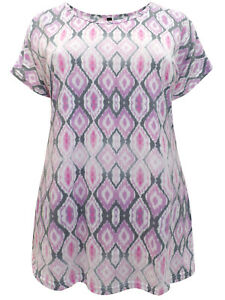 Ivans ladies top t-shirt plus size 16 18 pink lilac diamond print short sleeves