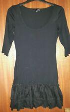 Asos short 3/4 sleeve cotton evening Party bodycon dress, black, size 8