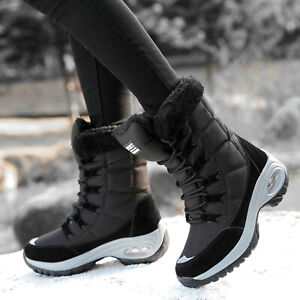 Womens Winter Warm Snow Boots Ladies Waterproof Lace Up Fur Lined Mid Calf Shoes