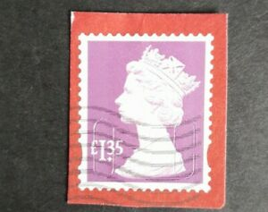 Gb security machin stamp HV £1.35. Used on piece