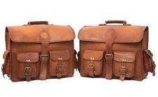 """15"""" Large Brown Leather Motorcycle Pouch Saddlebags Saddle 2 Bag Panniers Bag"""