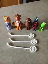 Muppets Stick Puppet Lot Vintage 5 characters and 3 sticks
