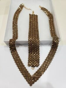 Hand Woven Beaded Set Gold Glass Square Beads 18in. Necklace 6 1/2in. Bracelet