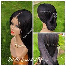 "Black Braided Wig, Micro Twist Braids, Lace Closure, Million Braids Wig! 26"""