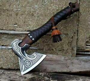 Custom High Carbon Steel Viking Axe Ash Wood & Leather Wrap Handle with Sheath