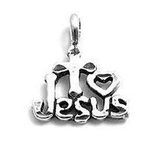 925 Sterling Silver I Love Jesus Charm