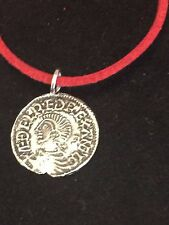 "Aethelred II Coin WC3 Made From Fine English Pewter On 18"" Red Cord Necklace"