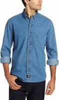 Dickies Men's Denim Work Shirt Long-Sleeve Button Up Stonewashed Indigo Blue