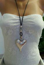 lange Halskette/Statement Kette * Modeschmuck * Silber * großes Herz * Lederband