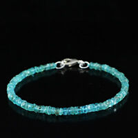 45.00 Cts Natural Unheated Blue Apatite Round 8 Inches Long Beads Bracelet (DG)