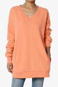 TheMogan S~3X Casual Cozy Oversized V-Neck Fleece Pullover Sweatshirts