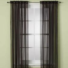 "Sheer 2Pc Window Treatments Curtain Panels 84"" Inch Long Polyester (10+ colors)"