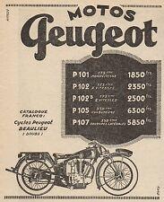 Y8049 Moto PEUGEOT - Listino Prezzi - Pubblicità d'epoca - 1928 Old advertising