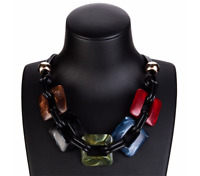 Leather Cord Acrylic Statement Necklace Vintage Weaving Collar Jewelry Women