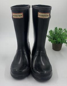 HUNTER Original Kids Gloss Boots 1 Girls 13 Boys Black Rain Boot