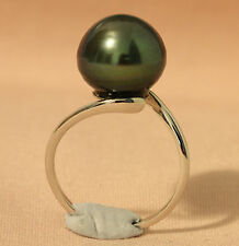 12.6mm!! TAHITIAN BLACK PEARL 100% UNTREATED +18ct SOLID WG RING +CERT AVAILABLE