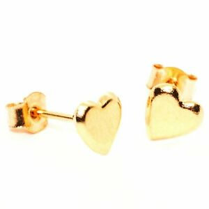 9ct gold stud earrings heart design 5 mm across with posts and backs also gold