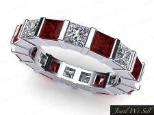 2.50Ct Princess Ruby Diamond Bar Set Wedding Eternity Band Ring 18k AAAA F VS2