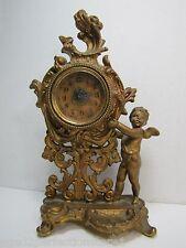 Antique Art Nouveau Cherub Clock old gold ornate dtl Pittsburgh Lamp & Brass Co