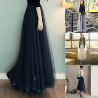 Multi Layers Long Womens Tulle Net Skirt Princess Lady Casual Skirts Prom Dress